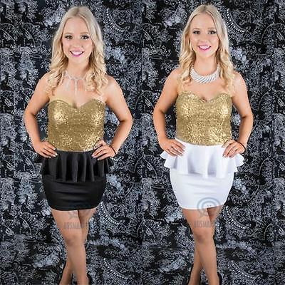 Strapless Gold Sequin Peplum Bodycon Mini Dress