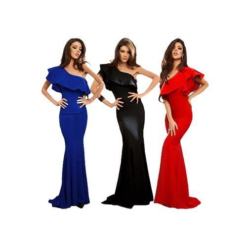 Ruffle One Shoulder Maxi Gown Long Dress