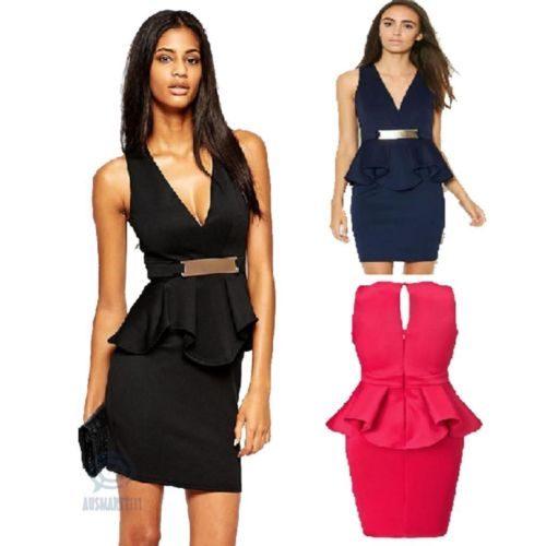 Sleeveless V-Neck Peplum Mini Formal Dress