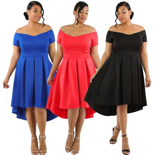 Plus Size Off Shoulder High Low Asymmetrical Pleated Swing Skater Dress