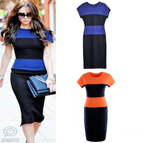 Short Sleeves Colour Block Round Neck Formal Dress