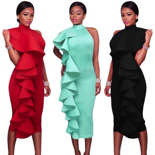 Sleeveless Halter High Neck Ruffle Midi Dress