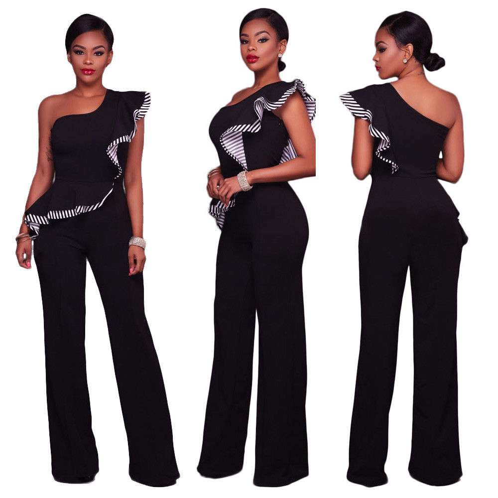 One Shoulder Falbala Ruffled Wide Leg Pants Jumpsuit