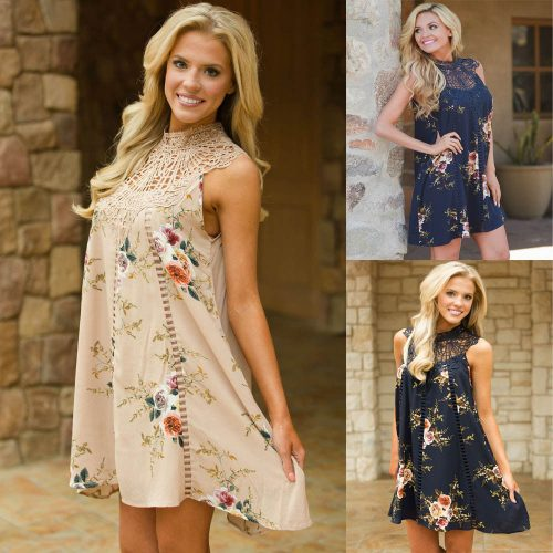 Crochet Lace Neck Floral Boho Summer Sundress