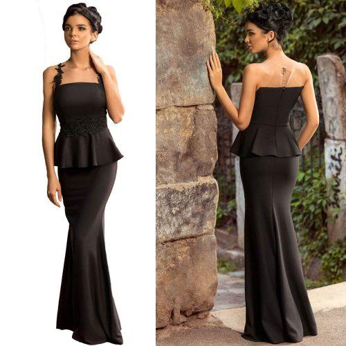 Floral Applique Mesh Insert Peplum Long Gown Maxi Dress