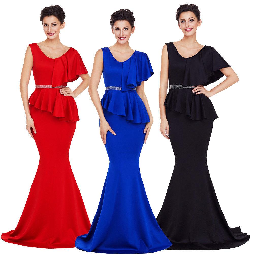 f8d8ff831b Asymmetric Ruffle Round Neckline Peplum Mermaid Long Gown Maxi Dress