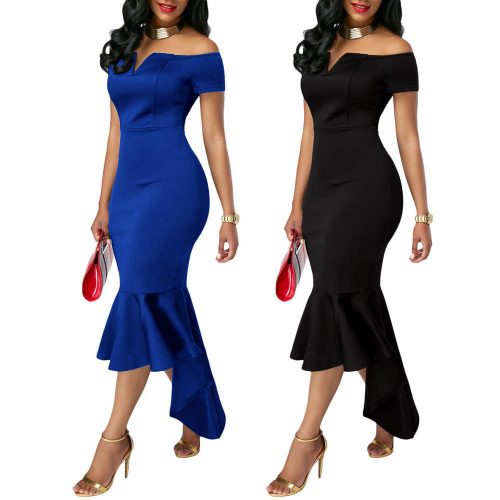 Off Shoulder V Neck Dip Hemline Mermaid Midi Dress