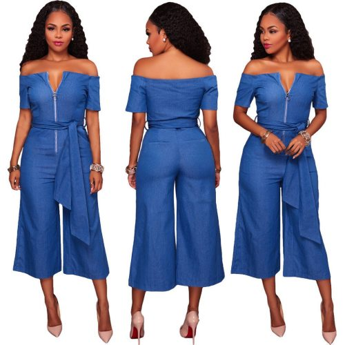Blue Denim Off Shoulder Wide Leg Pants Jumpsuit