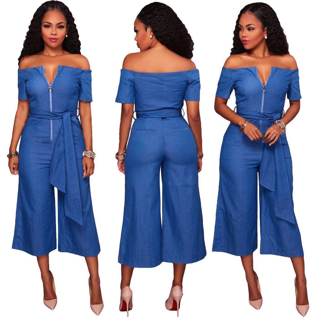 6e1ee450a88 Blue Denim Off Shoulder Wide Leg Pants Jumpsuit - AUS-MART