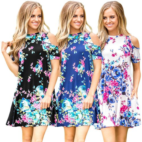Ruffled Cold Shoulder Floral Print Swing Skater Dress