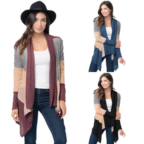 Long Sleeves Open Front Colorblock Cardigan
