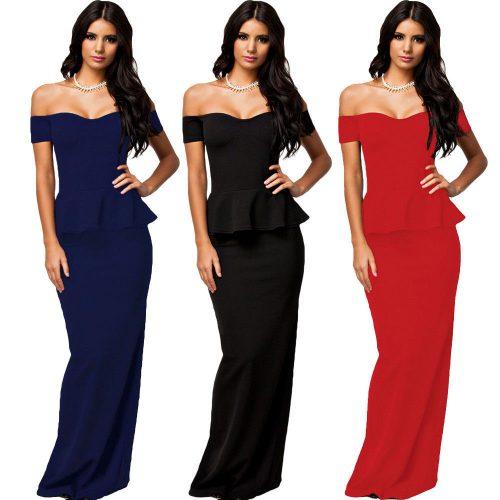Off Shoulder Peplum Maxi Gown Long Dress