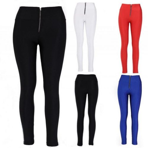 Slim Fit Legging High Waist Skinny Stretch Footless Zipper Pants