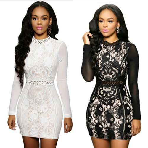 High Neck Lace Long Sleeve Mesh Mini Cocktail Dress