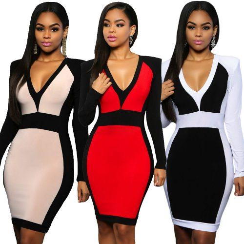 V Neck Color Block Long Sleeve Bodycon Midi Dress