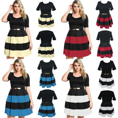 Plus Size Short Cup Sleeve Round Neck Stripes Belted Swing Skater Dress
