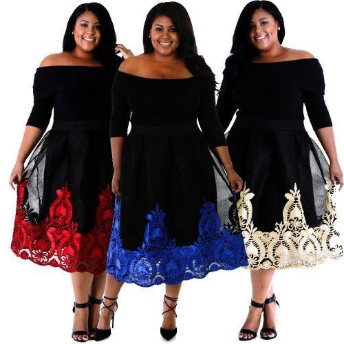Plus Size Lacy Embroidery Off Shoulder Tulle Skirt Skater Dress