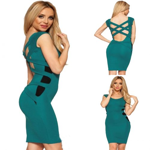Hollow-out Cut Strappy Back Midi Bodycon Dress