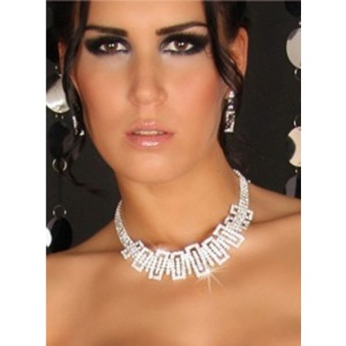 Wedding Bridal Jewellery Crystal Rhinestone Necklace Earrings Set
