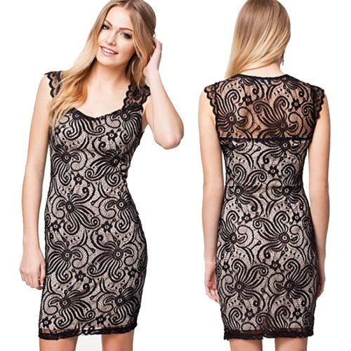 Flowery Paisley Pattern Lace Square Neck Sleeveless Little Black Dress