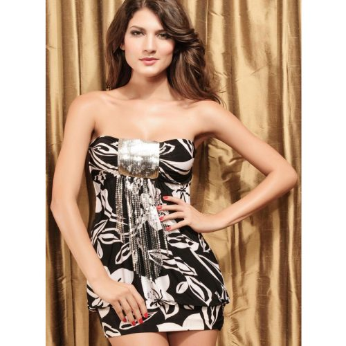 Sequin Black Floral Strapless Bandeau Mini Dress