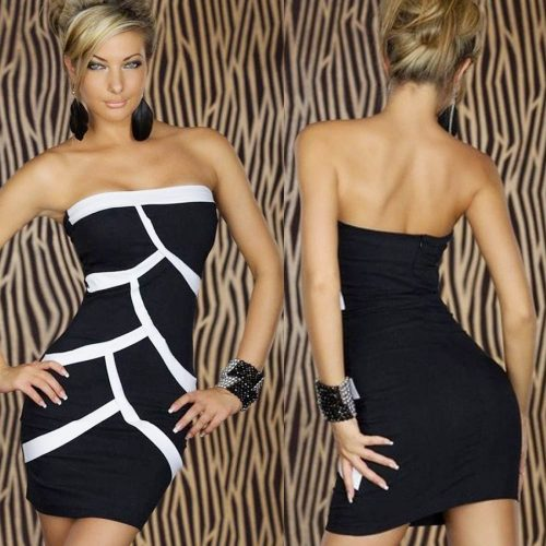 Splice Strapless Bodycon Little Black on White Dress