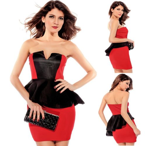 Strapless Deep V Neckline Colour Block Peplum Mini Dress