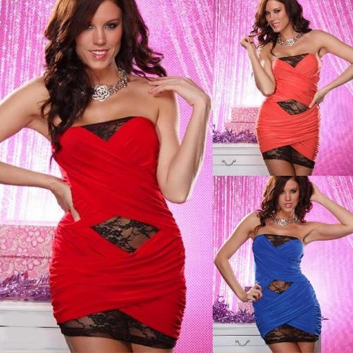 Strapless Bandeau Black Lace Wrap Bodycon Mini Dress