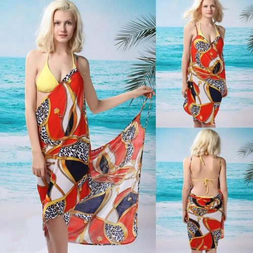 Gold Chain Print Front Cross Beach Cover-up Sarong