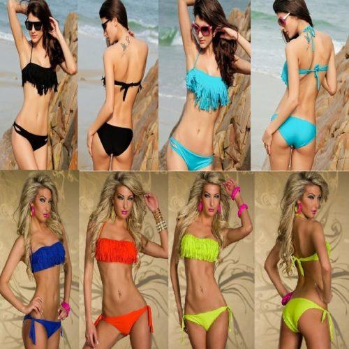 Swimsuit Halter Strapless Bandeau Fringe Top Bikini Swimwear