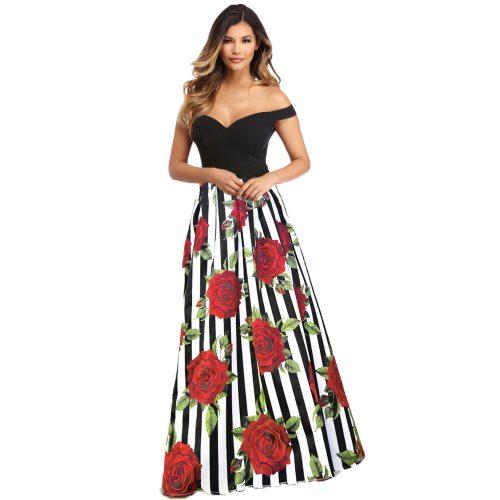 Black Top on Red Flower Print White Black Stripe Skirt