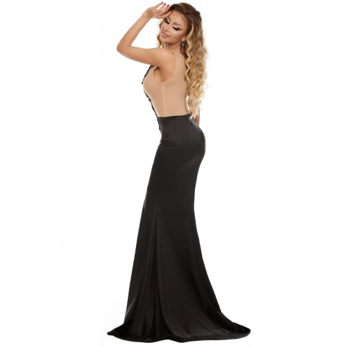 Nude Sleeveless Front Slit Mermaid Train Maxi Long Gown Party Dress