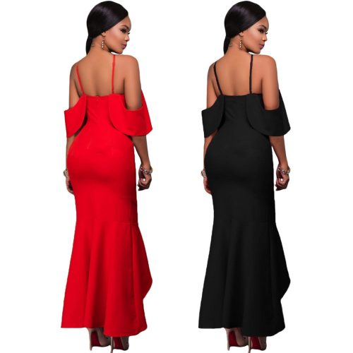 Ruffle Sleeve Off Shoulder High Low Fish Tail Hem Formal Dress