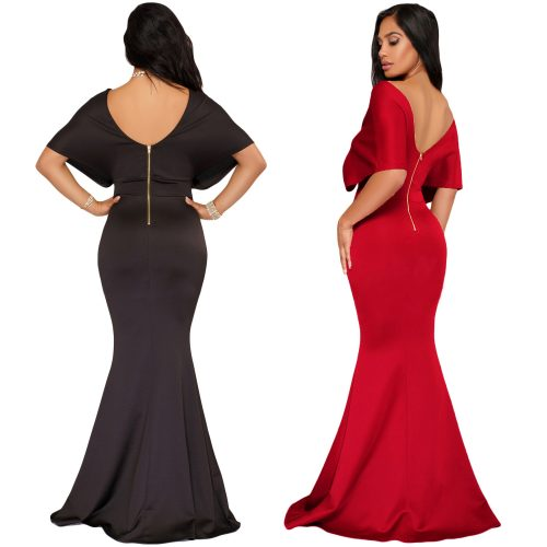 Off Shoulder Wide Sleeve Deep V-Neck Mermaid Train Maxi Long Dress
