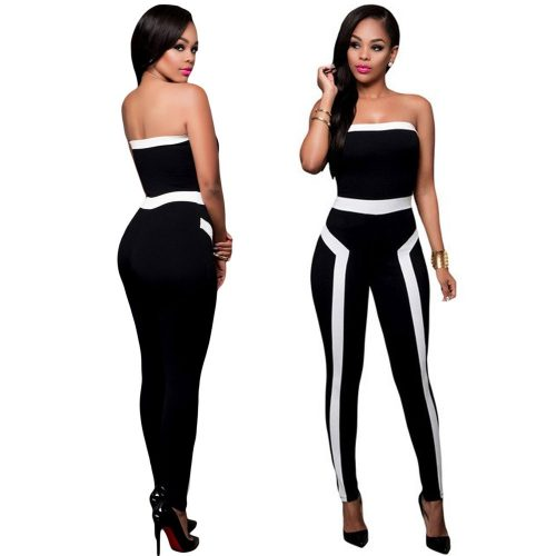 Colour-Block Strapless Jumpsuit Long Pant