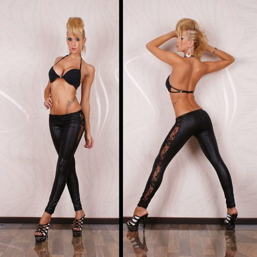 Black Wet Look Floral Lace Sides Legging Pants