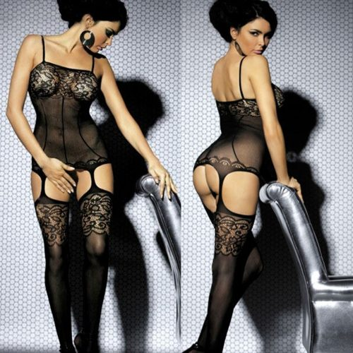Black See-Through Lace Body Stocking Intimate Lingerie