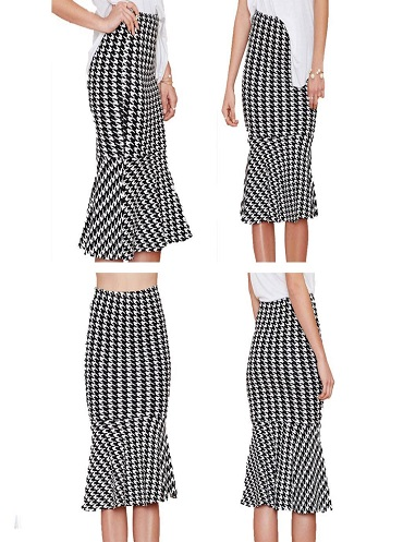 Houndstooth Pattern Knee Length Mermaid Ladies Skirt