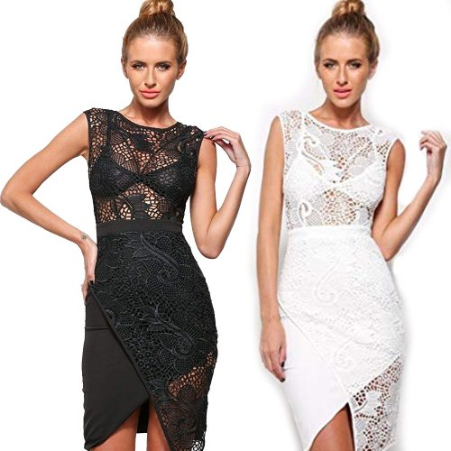 Floral Lace Crochet Overlap Hemline Sleeveless Mini Dress