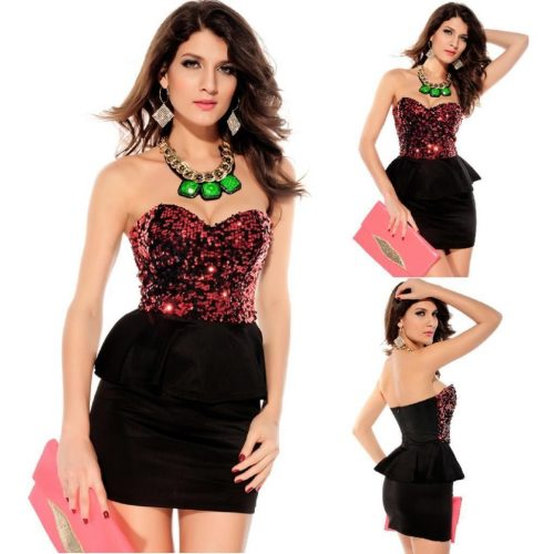 Red Strapless Sequin Tube Peplum Mini Dress