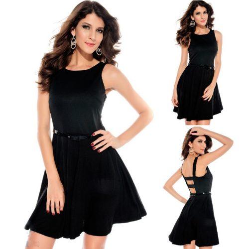 Sleeveless Little Black Swing Skater Formal Dress