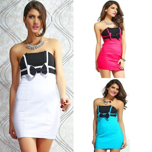 Strapless Bow Ruched Mini Bodycon Dress