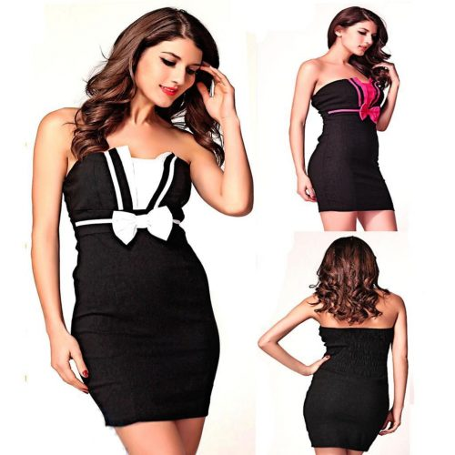 Strapless Bow Tube Bodycon Mini Cocktail Dress