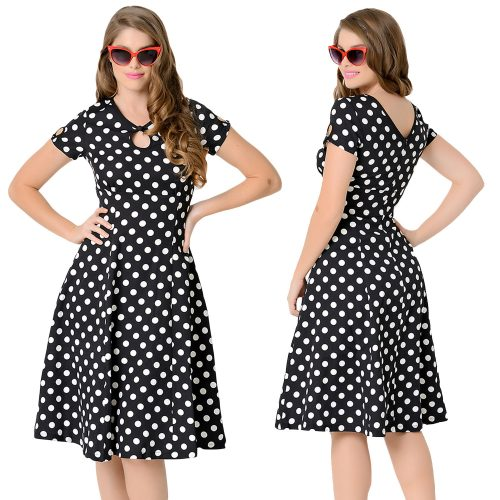 Vintage Retro Style Polka Dot Swing Skater Dress