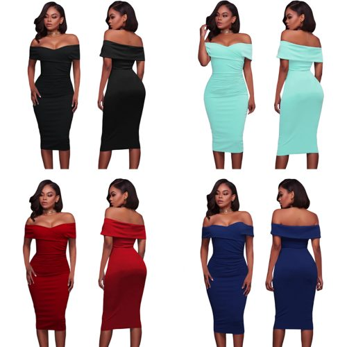 Ruched Fold-Over Off Shoulder Bodycon Midi Dress