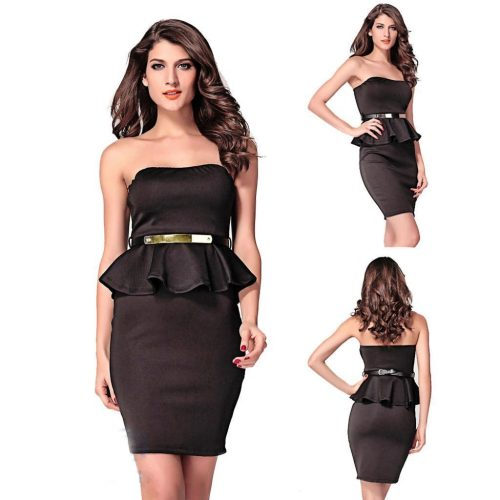 Strapless Gold Belt Peplum Bodycon Midi Dress