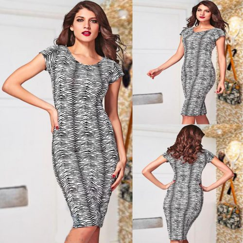 Round Neck Short Sleeve Midi Zebra Print Casual Summer Dress