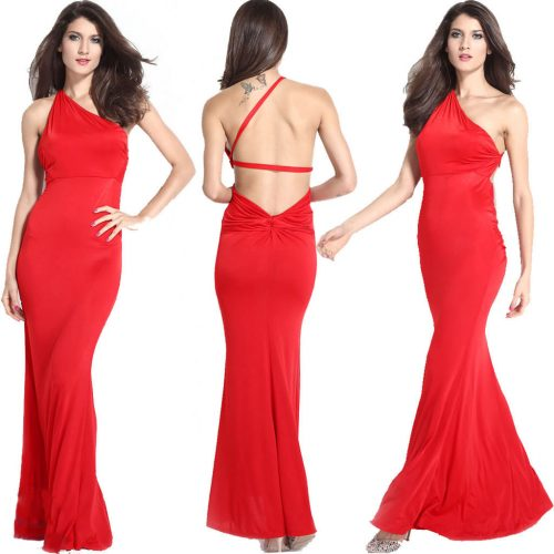 Backless One Shoulder Red Maxi Long Dress