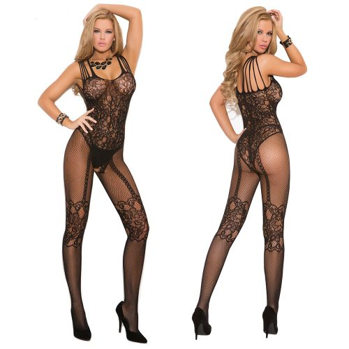 Black Strappy Shoulder Floral Lace Mesh Body Stocking