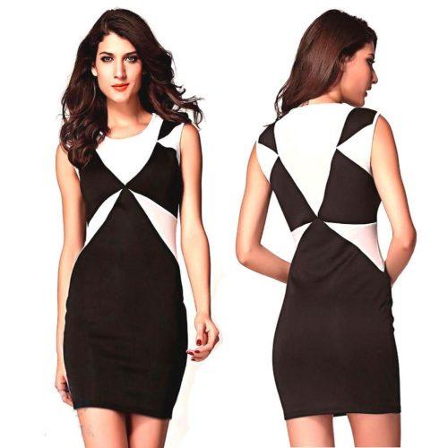 Geometrical Style Sleeveless Bodycon Mini Dress